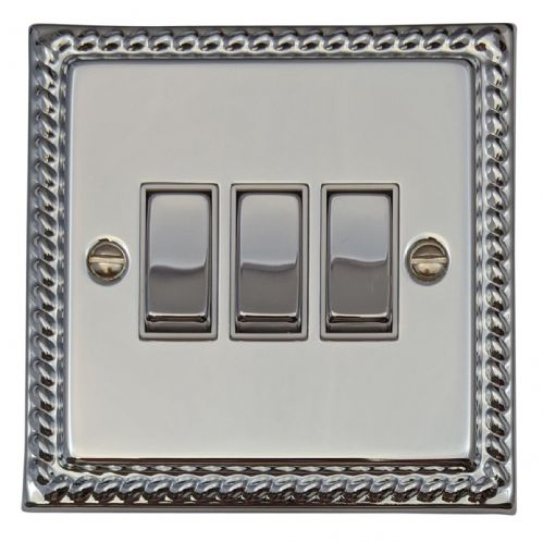 G&H MC203 Monarch Roped Polished Chrome 3 Gang 1 or 2 Way Rocker Light Switch